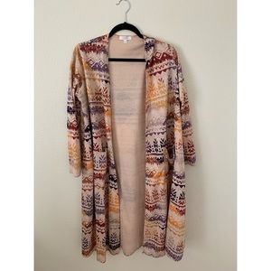 Jacquard Ivory Duster Sweater